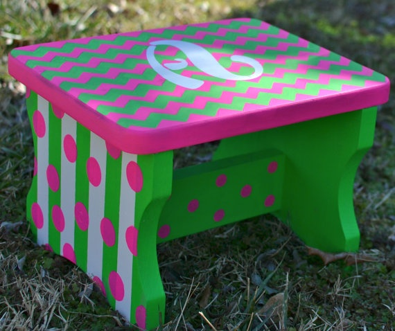 Childrens Step Stool Chevron Hand Painted by TheShabbyBloom, $45.00
