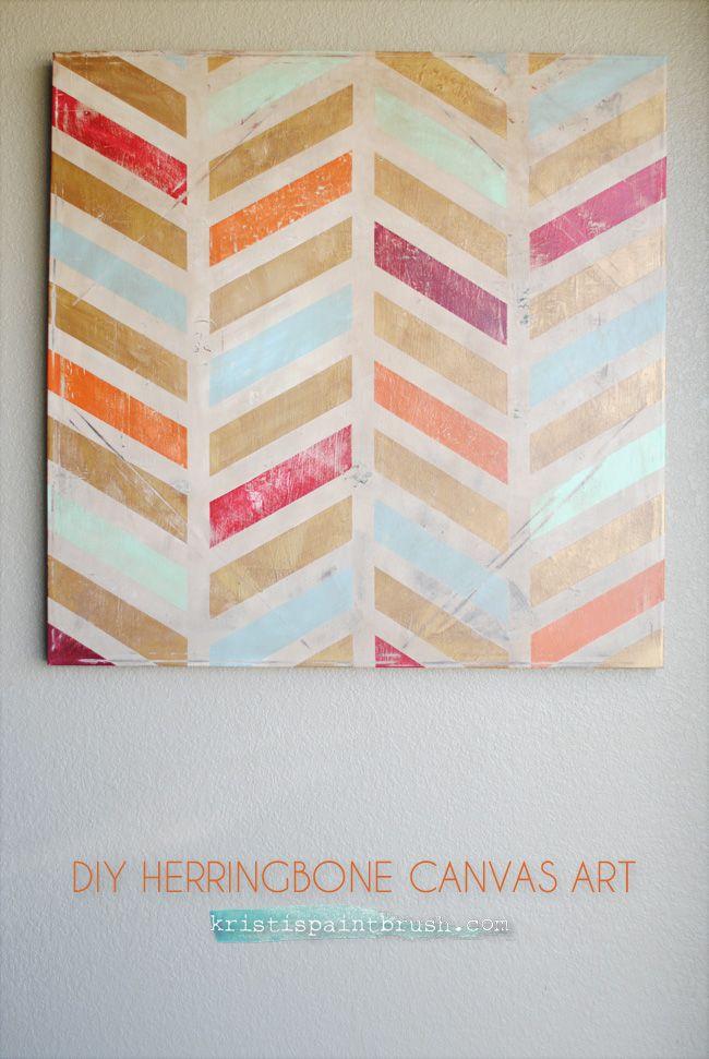 DIY Herringbone Canvas Art | Step-by-step instructions to create a fun piece of herringbone canvas art.