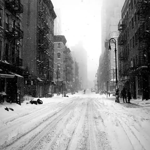 Lower East Side, New York City during the blizzard yesterday ...