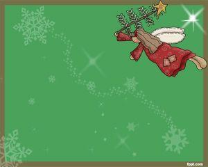 Ángel de Navidad Plantilla PowerPoint es un fondo de PowerPoint con un efecto de color verde de fondo y con ángeles de Navidad para celebrar Navidad con fondos de PowerPoint gratis