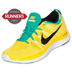 Women's Nike Flyknit Lunar1+ Running Shoes | FinishLine.com | Electric Yellow/Black/True Yellow/Atomic