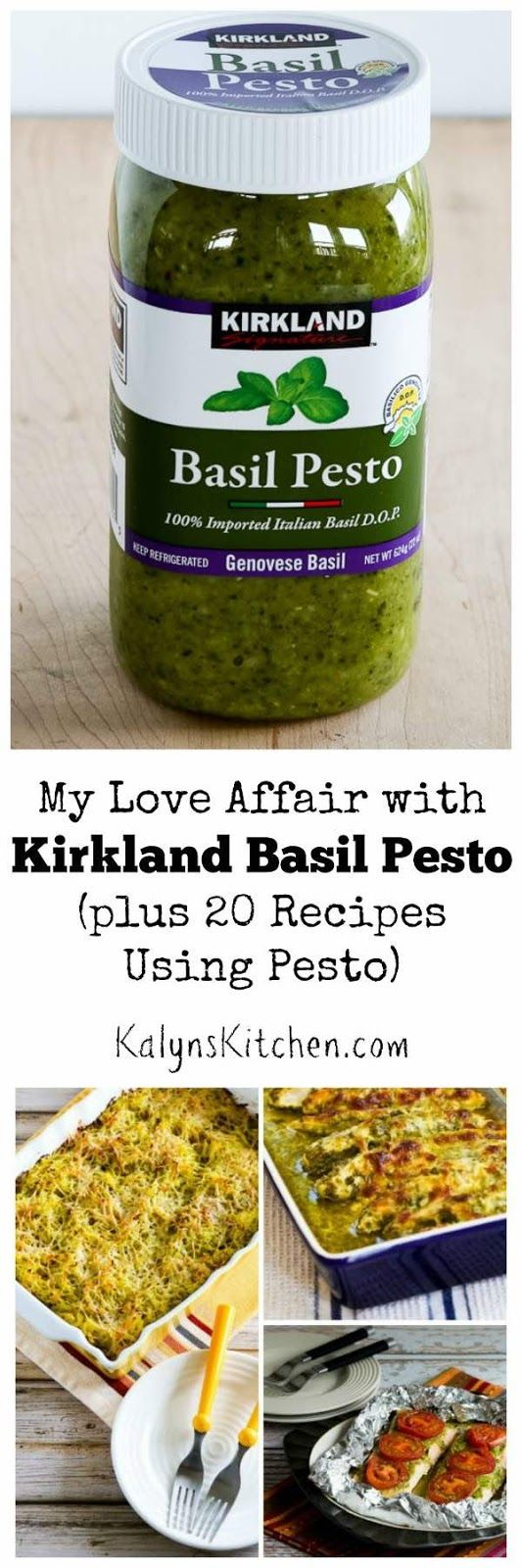 Kalyn's Kitchen Picks: Kirkland Basil Pesto, plus 20 recipes using Pesto from Kalyn and other bloggers! Nothing can beat fresh homemade pesto but this is great when you don't have fresh basil. [found on KalynsKitchen.com] #BasilPestoRecipes #KirklandBasilPesto #BasilPesto
