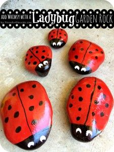 Add a Little Whimsy: Make a Cute Painted Ladybug Garden Rock family for your front yard. Super easy garden art. Easy to make garden art.