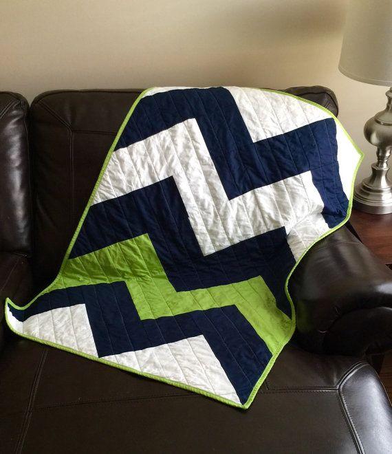 crib bedding baby blanket quilt chevron zig zag navy blue and lime green chevron