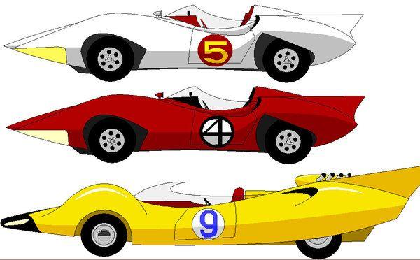 Mach 5, Mach 4, and Racer X's car