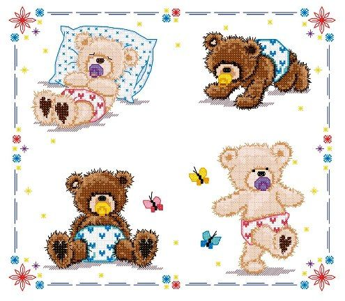 free cross stitch patterns in pdf format with teddy bears babies