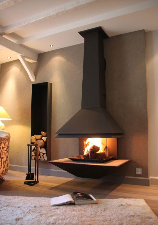 VYROSA - Cheminée à foyer ouvert design et élégante - Vision sur 180 ° - Signée Nao