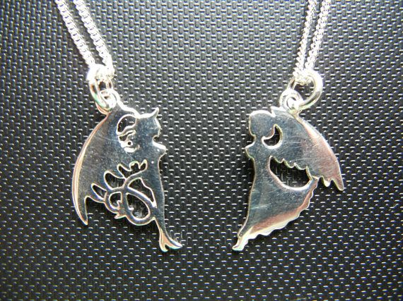 Angel necklace demon necklace devil necklace friendship