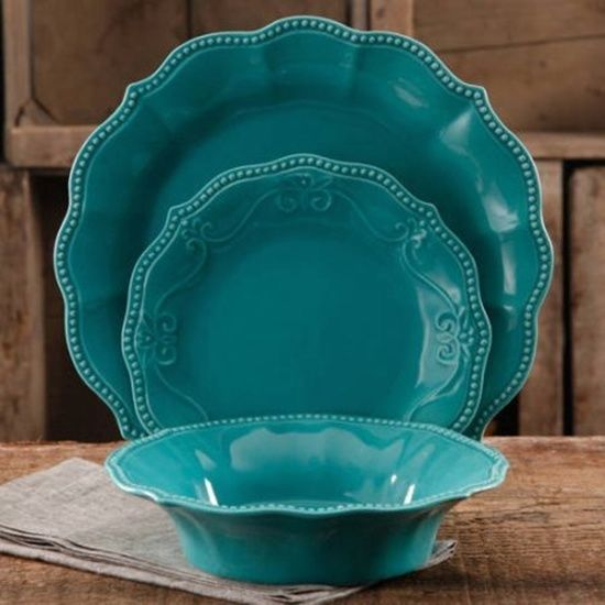Pioneer Woman Paige 12 Piece Teal Dinnerware Set Modern Country  & Stylish New #THEPIONEERWOMAN