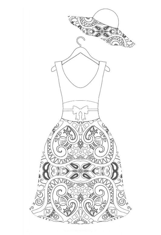 91 best Clothing Dress Coloring For Adults Art Pages