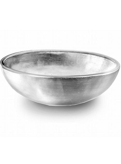 LAVABO – BASIN Misure-Size 41,5 Ø – h 13 cm Price code 72A  CP950 SILVER  Lavabo realizzato in resina trasparente ed argento in foglia, piletta ad uso espositivo in acciaio inclusa.