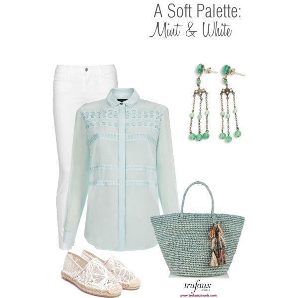 A Soft Palette: Mint & White by trufaux on Polyvore featuring Green Glass Czech Art Deco Chandelier Earrings from TruFaux Jewels.