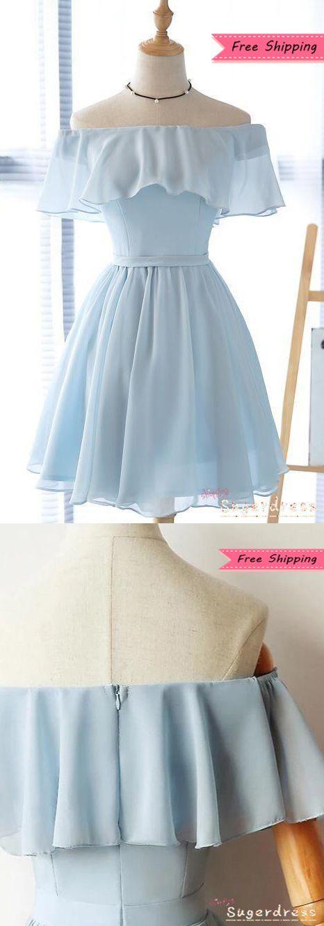 $ 84 Rüschen aus der Schulter Light Sky Blue Homecoming Dress  – WOW Event Planning