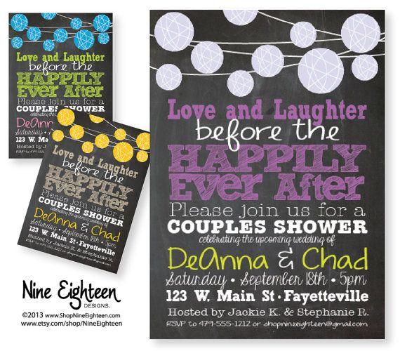 Couples Shower Invitation, Love Laughter Happily Ever After. Lantern & Chalkboard Design. Custom Printable PDF/JPG. I design, you print.