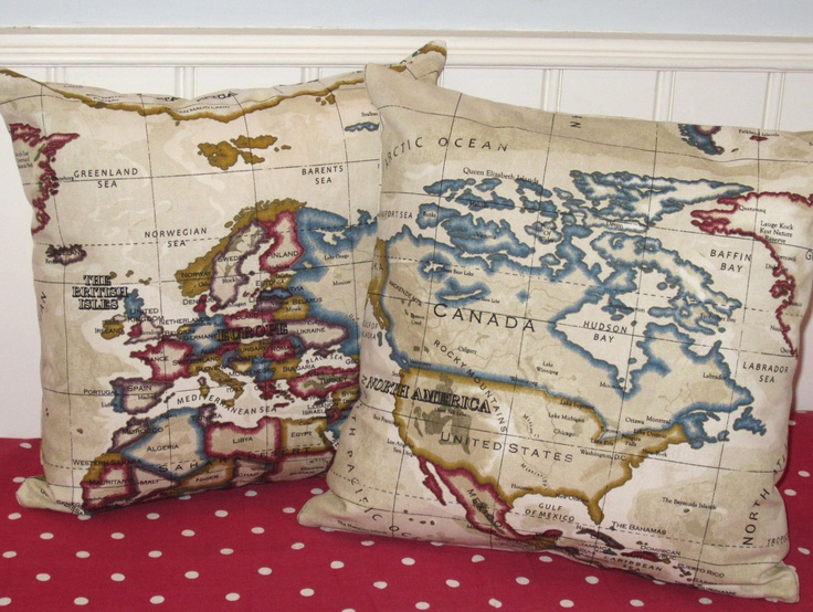 14 best Cushion ideas images on Pinterest Cushion ideas, Cushions - best of world map fabric bunting