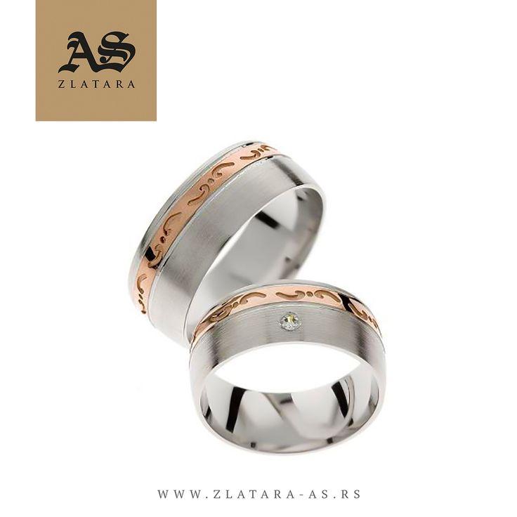 Burme Organic 324 • Burme od zlata, izrađene iz dve boje zlata (roze i belo zlato), širine 8mm, sa kamenom (1 x 1,9mm, cirkon ili dijamant). #weddingcentar #veridba #vencanje #novisad #srbija #beograd #prsten #verenickiprsten #burme #zlatara #zlataraas #ljubav #poklon #dijamant #dijamanti #morganit #akvamarin #engagement #wedding #weddings #ring #rings #enagementring #engagementrings #proposal #love #gift #jewelry #jewelery #marriage