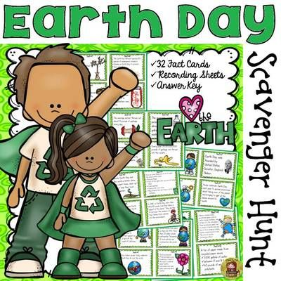 TeachToTell  from  EARTH DAY: EARTH DAY SCAVENGER HUNT:  on TeachersNotebook.com -  (44 pages) - Your students will enjoy knowing the answers to these and many more interesting questions with this 32 Scavenger Hunt Fun Facts pack on Earth Day.