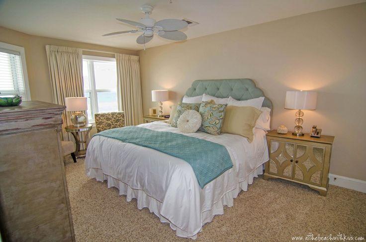 master bedroom makeover featuring pier 1 hayworth upholstered heaboard