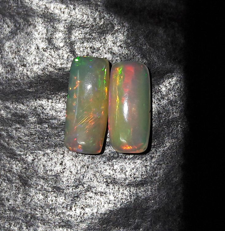 2 Psc. Natural Fire Multi Color Coushion Ethiopian Welo Opal Cabochon Ring Size