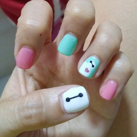 baymax big hero 6 nail art