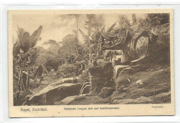 indonesia, BALI KAPAL, Langon Bathing Place, Old Sculpture (1920s)