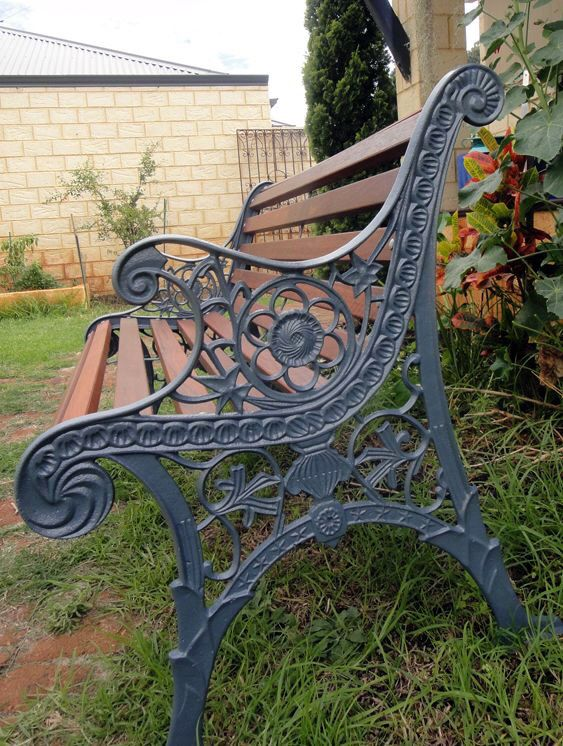 Renovated cast iron bench