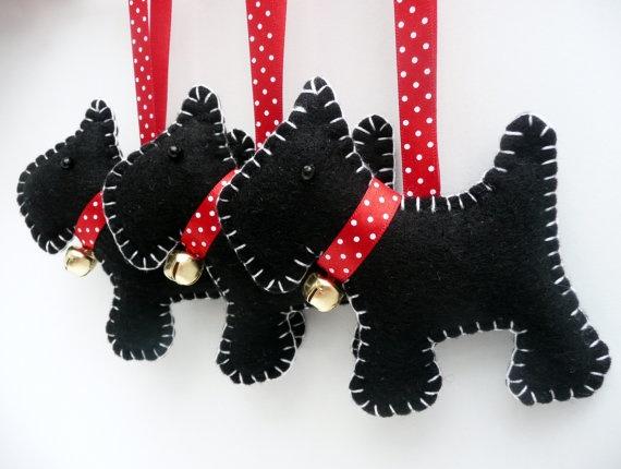 x3 Scottie Dog Felt Hanging Decorations by DevonlyCrafts on Etsy, £17.50