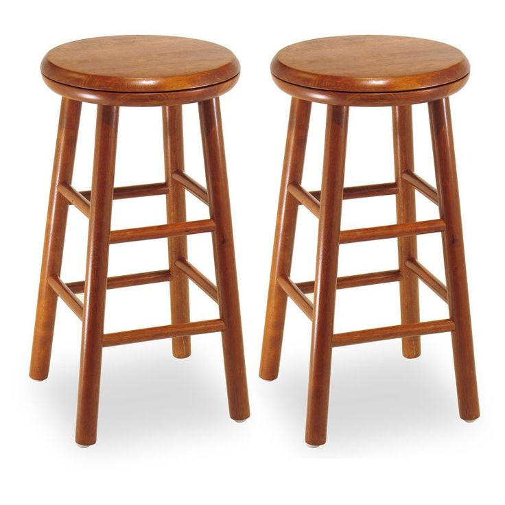 Winsome 24-Inch Charger Swivel Counter Stool - Set of 2 | from hayneedle.com