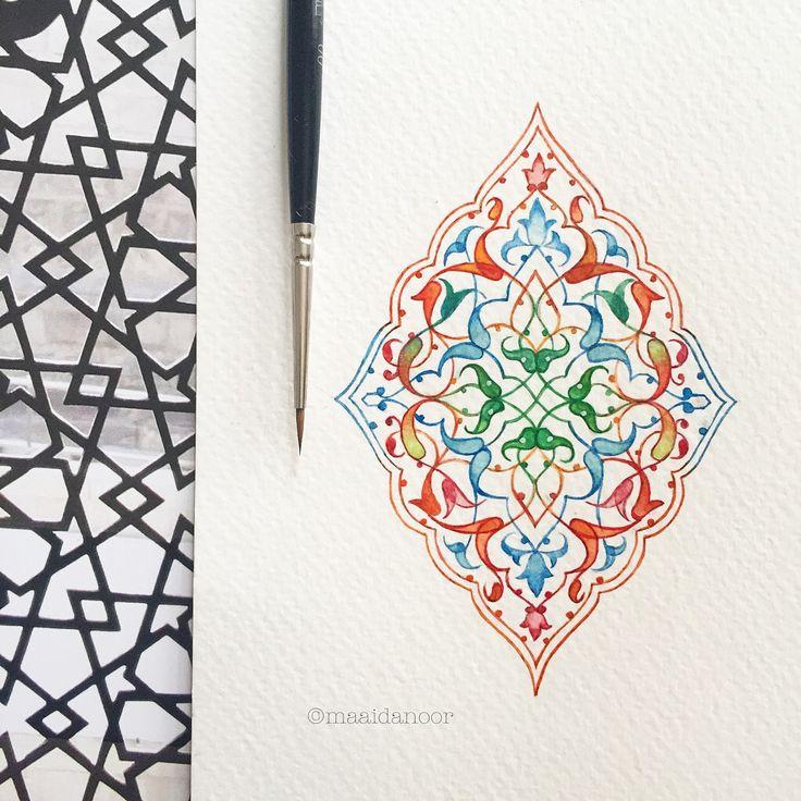 Islamicart - shamsa - rumi motif 60x90mm Watercolour on cold press paper #watercolour #art #shamsa #rumi #motif #maaidanoor