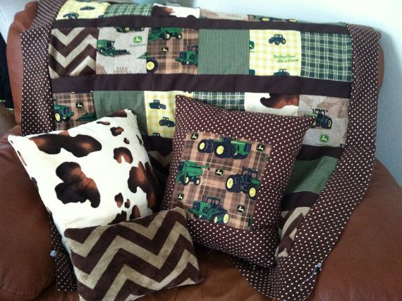 John Deere nursery, bedding, crib love the addition of the chevron and cow hide print