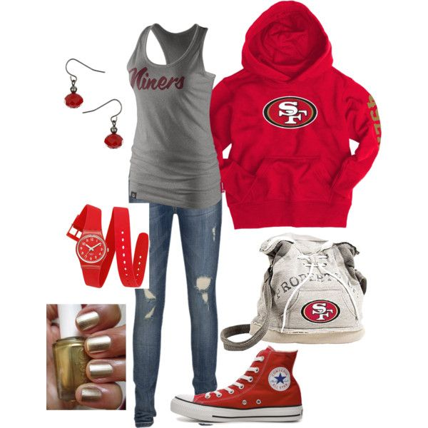 """""""49er Casual"""" by amykclark on Polyvore He would love to see me sport his favorite team!"""