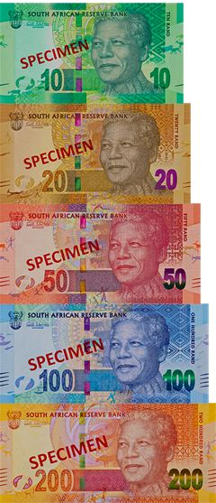 Banknotes with Nelson Mandela