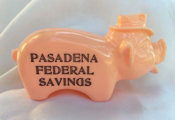 Vintage 1950's Salesman Sample Advertising Plastic Coin Pink Pig Piggy Bank