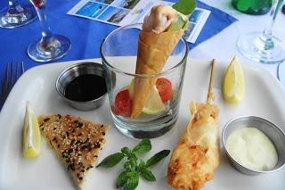 Trio of prawns from Milkwood. avocado prawn cone, prawn in phyllo pastry lollipop and prawn toast- delicious
