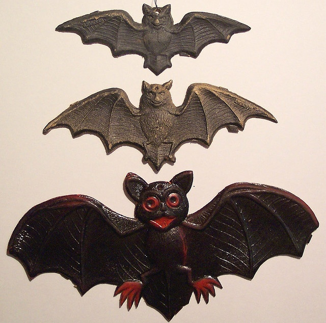 3 vintage german halloween diecut bats - German Halloween Decorations
