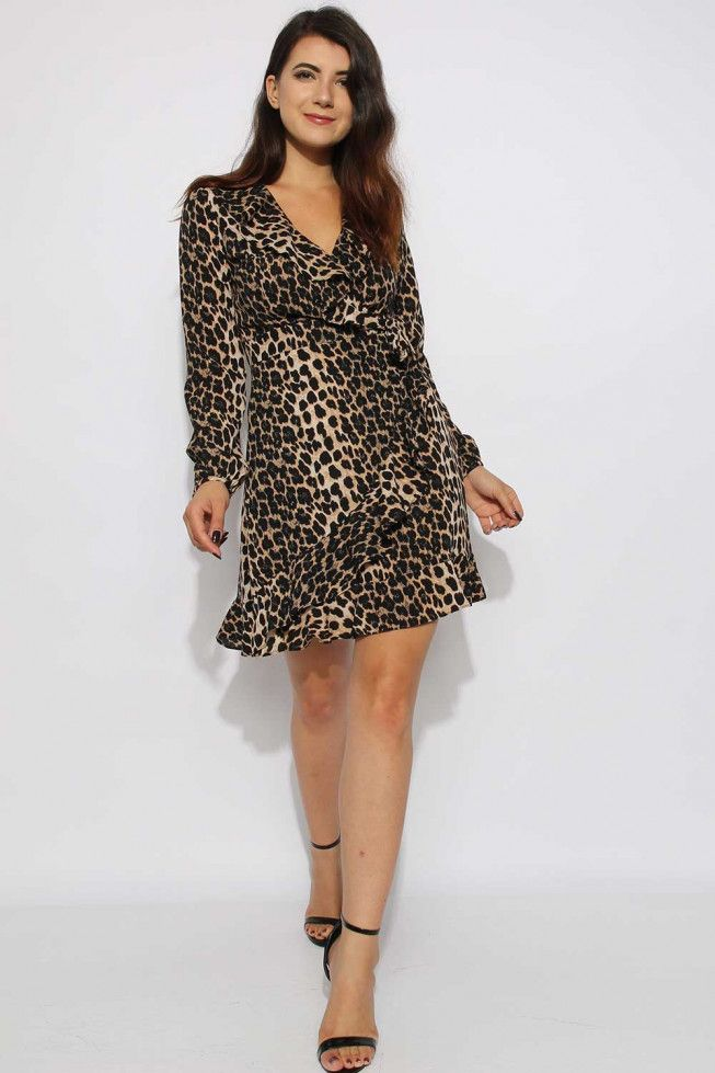 c29bd08fe7389 Leopard Frill Wrap Skater Dress-Leopard