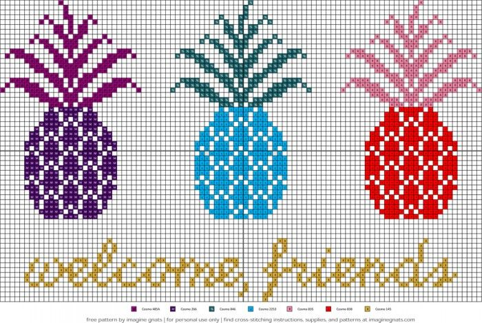 free pineapples cross-stich pattern by imagine gnats