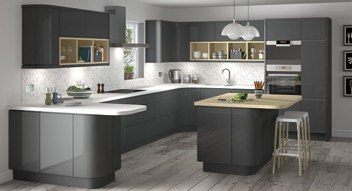 Grey gloss kitchen with the limed floor - also they have a hardwood section of work surface for the island