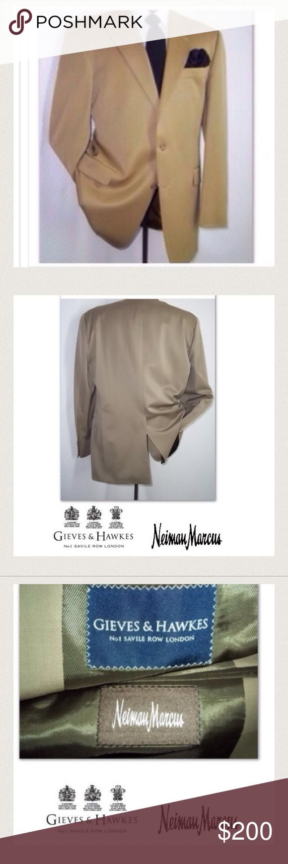 ❤️🌲FINAL SALE Mens Wool Blazer Neiman Marcus Gieves and Hawkes for Neiman Marcus Light Green 100% Wool two button Luxury Blazer size 44 Long Mens Very Nice Jacket!!! Great for formal events: dinners, work, parties sophisticated and classy weddings business gatherings Neiman Marcus Suits & Blazers