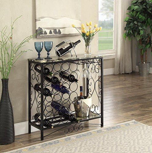 "This Black and Marble Glance Best with 24 Bottles and Glass Holder Wine Organizer Rack Cupboard Kitchen 36""W is a smart addition to your own home. Options 24 Bottle Holders with Wine Glass Holder. Measures: 30.5 inches prime x 30.5 inches wide x 12 inches deep. Colour: Black Subject matter: Steel and Hardwood/MDF Options 24 Bottle Holders with"
