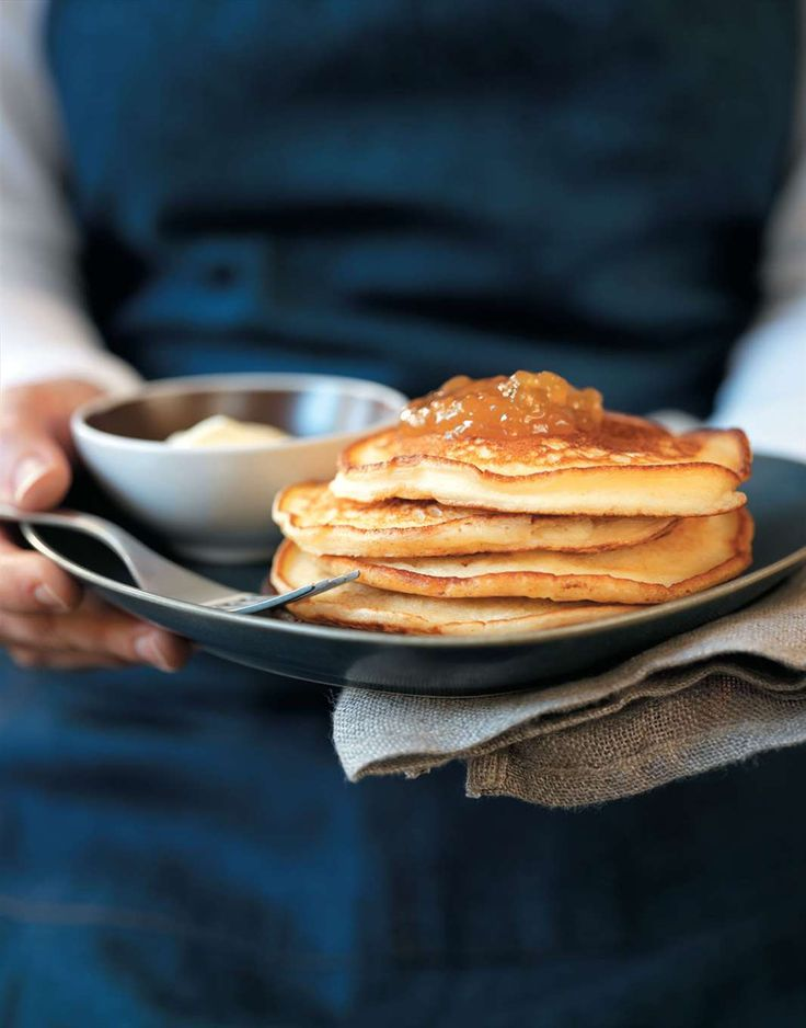 Ricotta pancakes with fig jam and cream by Margaret Fulton | Cooked