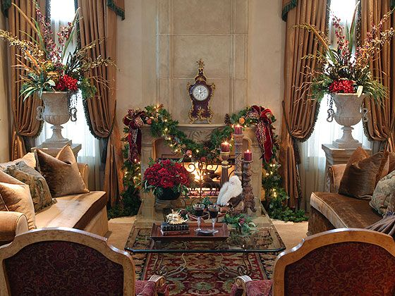 "Eclectic European-style interiors lend formal elegance to the living room. An 18th century French tortoise shell and gold gilt mantel clock creates a focal point on the fireplace. - ""Decorating for Christmas, Old World Style"""
