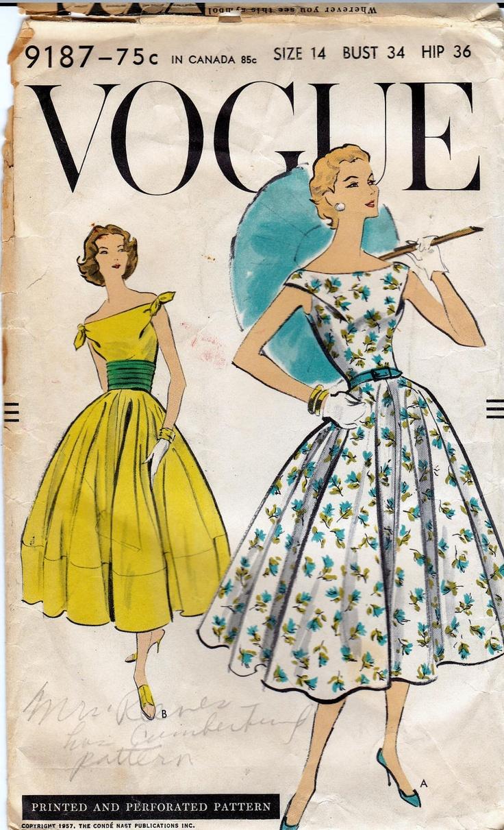 50s Vintage Vogue Pattern 9187 Full Skirt Dress & Cummerbund