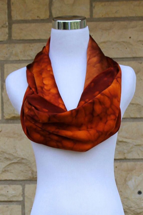 Hand painted Charmeuse silk scarf 14x72. Brown by MJsilkaddiction