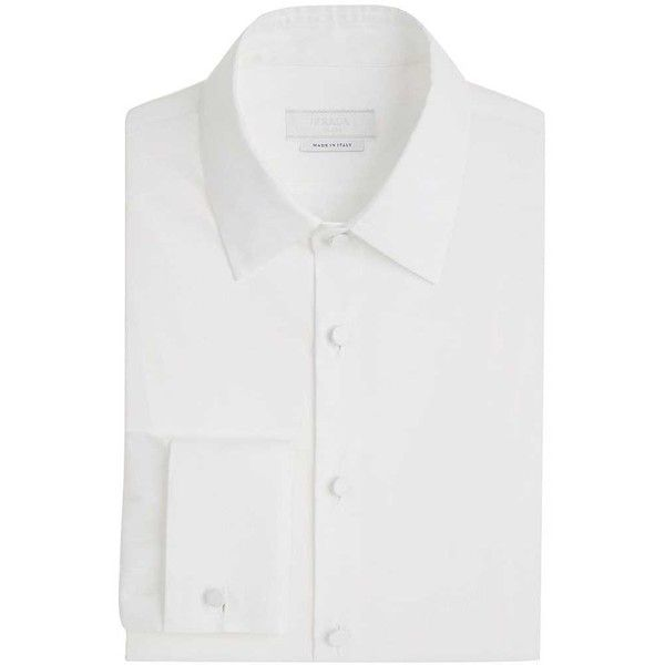 Prada Men's Cotton Slim-Fit Dress Shirt (855 CAD) ❤ liked on Polyvore featuring men's fashion, men's clothing, men's shirts, men's dress shirts, white, mens white cotton shirts, mens cotton shirts, mens dress shirts, men's spread collar dress shirts and mens white french cuff dress shirt
