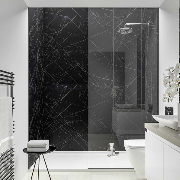 What Can I Use Instead Of Tiles In 2020 Black Marble Bathroom