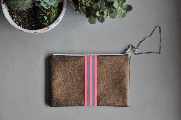 Pochette cuivre/fluo pink