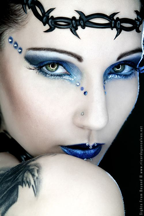 Goth look with ice blue eyes and lips along with aqua jewel accents -- HYBRID by ~RGFoto
