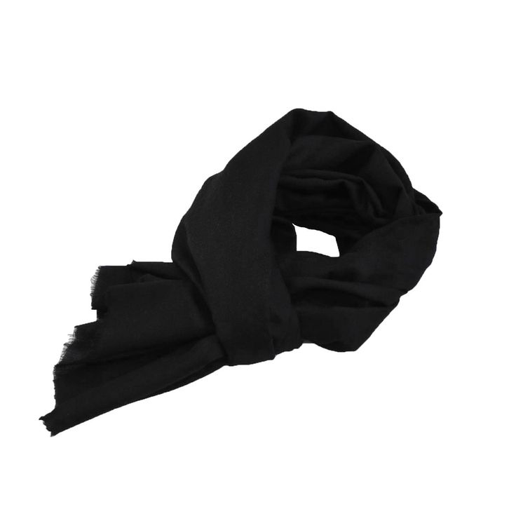 WOOLEN SCARF by Tikau (Black, 70X180cm) Hand wooven by talented artisans in their shared family home in Kashmir, India. Extremely warm and durable. Tikau follows the principles of fair trade.