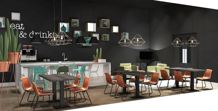 Voor het Bruynzeel Home Center heeft Jeanne van de Meulengraaf samengewerkt met interieur ontwerper Lara Burgmans.  Lara Burgmans heeft zorg gedragen voor het ontwerp en begeleiding van deze showroom.  Jeanne heeft de styling en de kleuropties bepaald en het ontwerp samen met Lara uitgevoerd. Ook heeft Jeanne een groot deel van de meubels en accessoires geleverd. #office #kantoor #interiordesign #interior #styling #ontwerp #kantoorinrichting #kantine #pixels #bar #eettafel